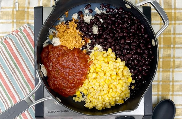 Combing ingredients in a large skillet