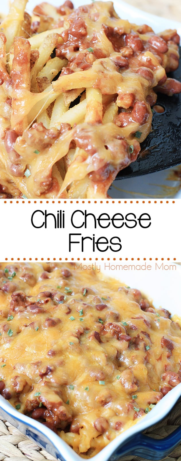 Chili Cheese Fries - these are SO easy!! Crispy oven french fries topped with chili and cheese, my kids go crazy for this!! #recipe #dinner #snack #cheesefries