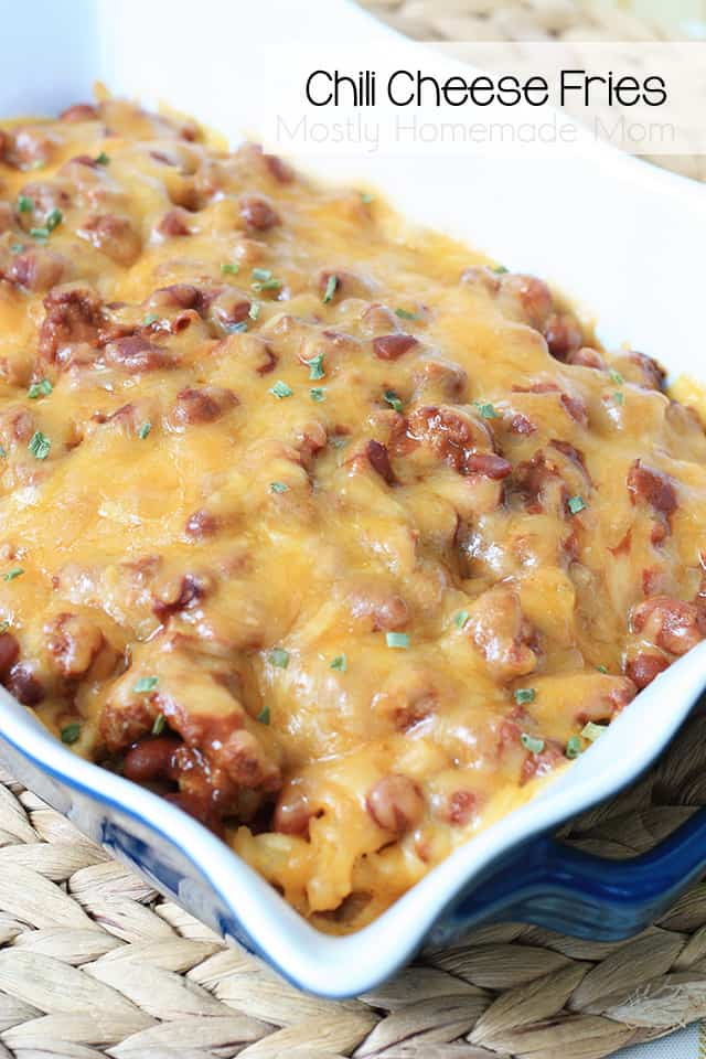 Chili cheese fries in a baking dish