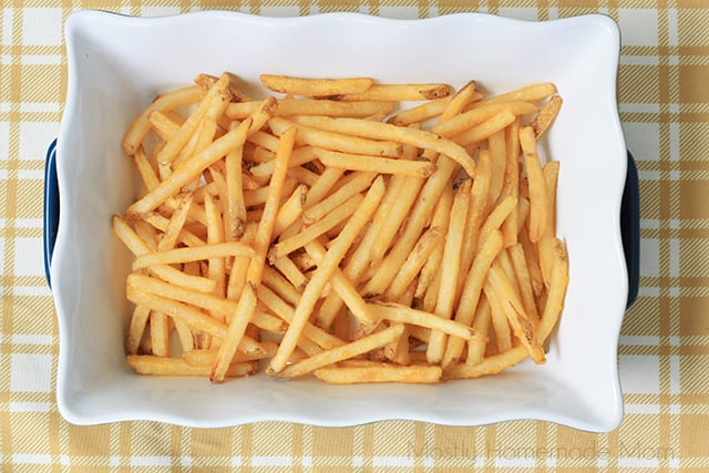 crispy french fries in a baking dish