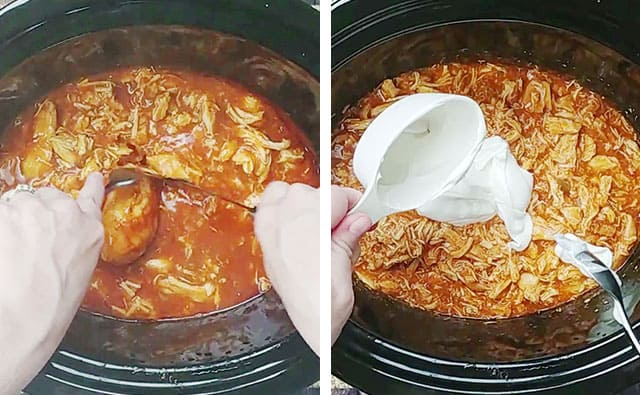 Shredding cooking chicken in a crockpot and stirring in sour cream