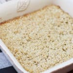 Amish baked oatmeal in a square baking dish