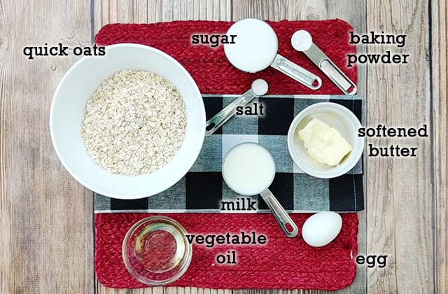 Ingredients for Amish baked oatmeal on a placemat