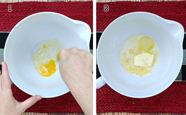 Mixing egg and adding wet ingredients for baked oatmeal in a mixing bowl
