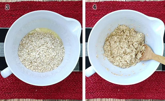 Mixing in oats to the baked oatmeal mixture
