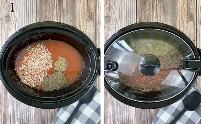 Adding tomato soup ingredients to a Crockpot