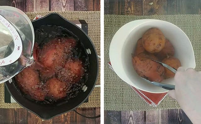 Boiling sweet potatoes in a pot and cooling them in a mixing bowl