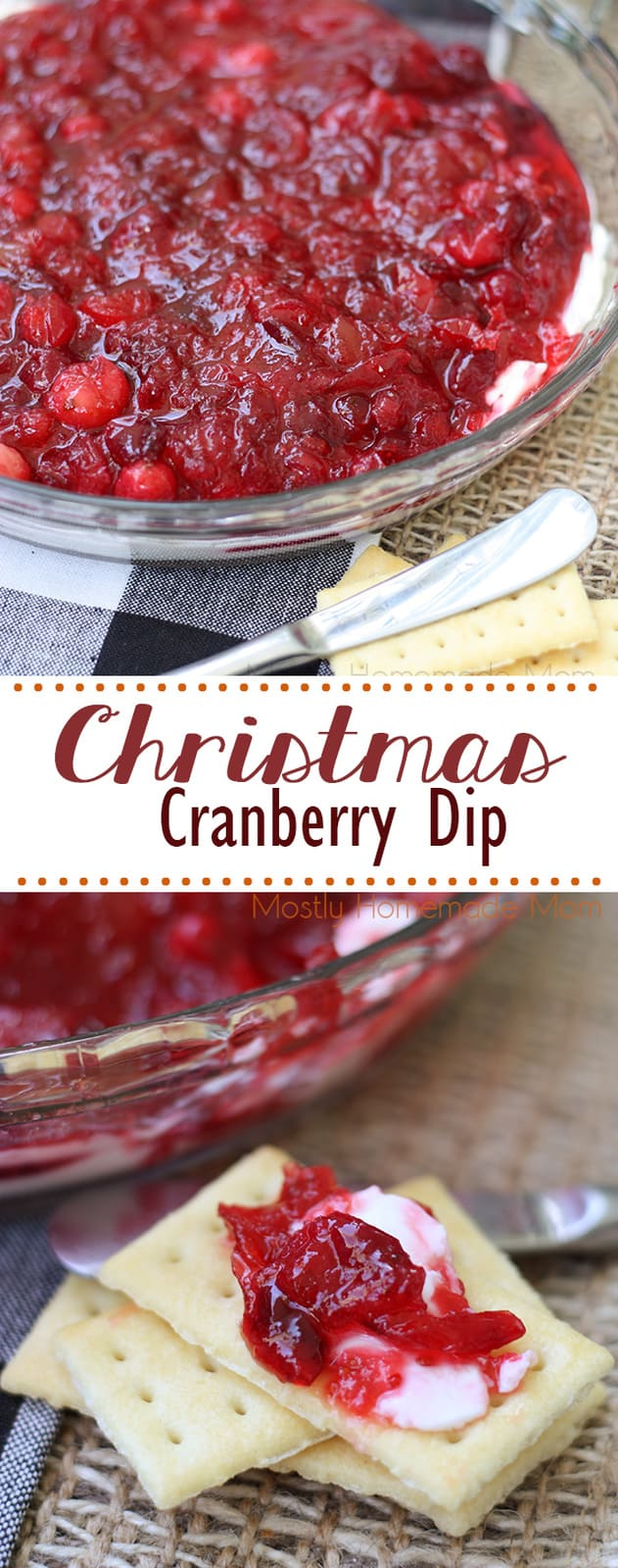 Christmas Cranberry Dip - the perfect, festive appetizer for the holiday season! Fresh cranberries, pineapple preserves, and cream cheese with buttery crackers! #christmas #thanksgiving #appetizer #cranberrydip