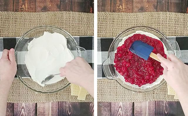 Spreading cream cheese in a dish and adding cranberries over top