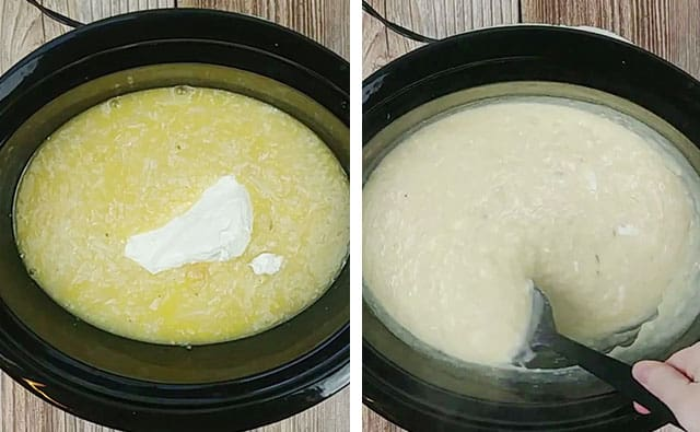 Adding cream cheese to Crockpot baked potato soup