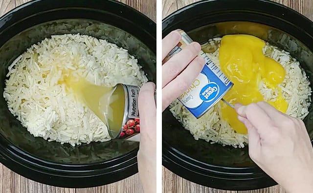 Adding frozen hash browns, chicken broth, and chicken soup to a Crockpot