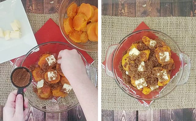 Layering sweet potatoes with butter and brown sugar in a glass baking dish