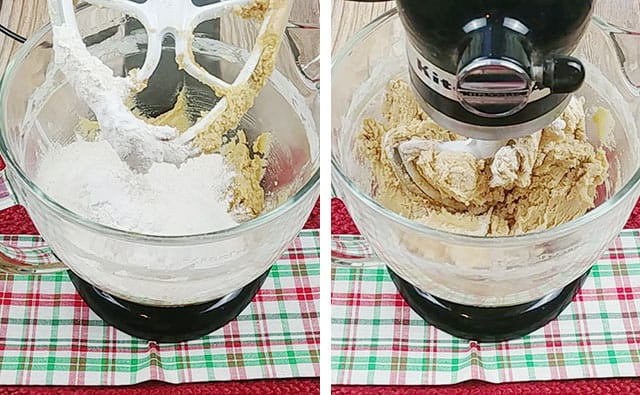 Adding in flour, baking soda, and salt to a stand mixer