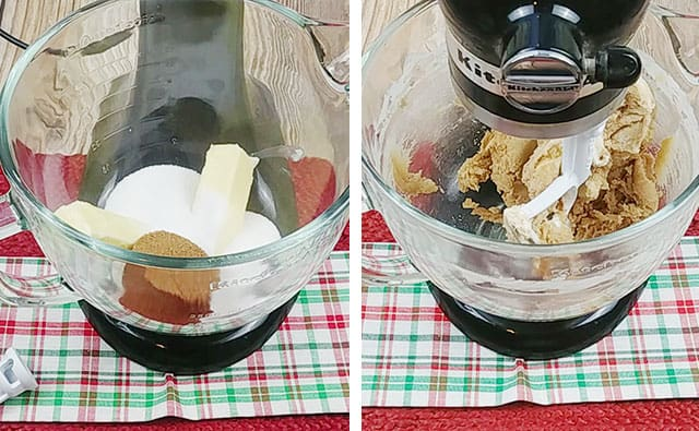 Blending butter, sugar, and brown sugar in a stand mixer