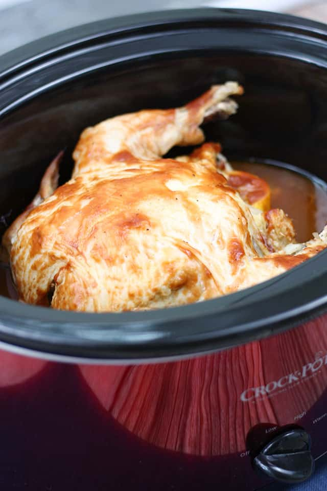 Rotisserie chicken in a red crockpot