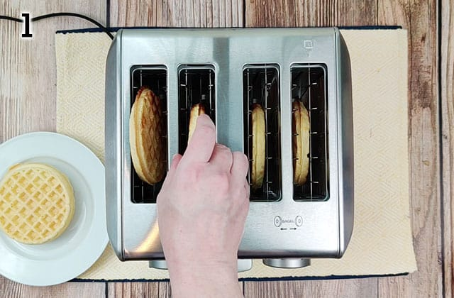 Toasting frozen waffles in a stainless steel toaster