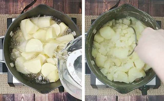 Cooking potatoes in a pot on the stove, then mashing them