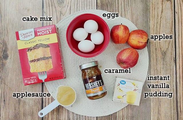 Ingredients for caramel apple cake