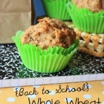 Back to School Whole Wheat Banana Muffins
