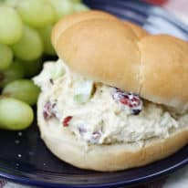 Honey dijon chicken salad sandwich on a blue plate