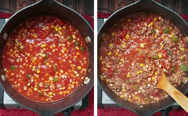 Mixing the tomato mixture for stuffed pepper casserole