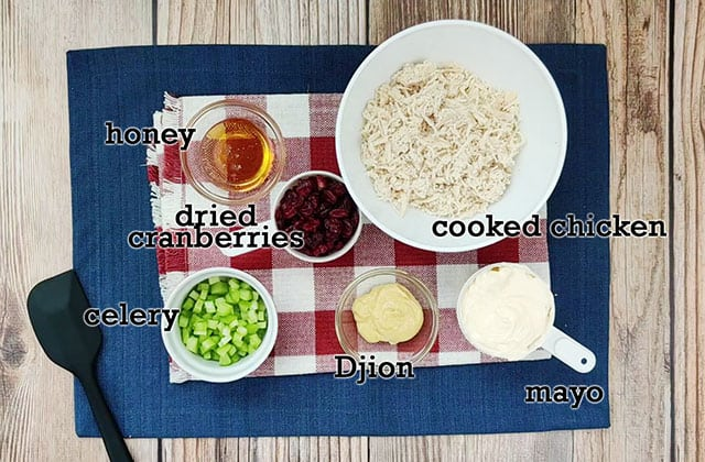 Ingredients to make honey dijon chicken salad