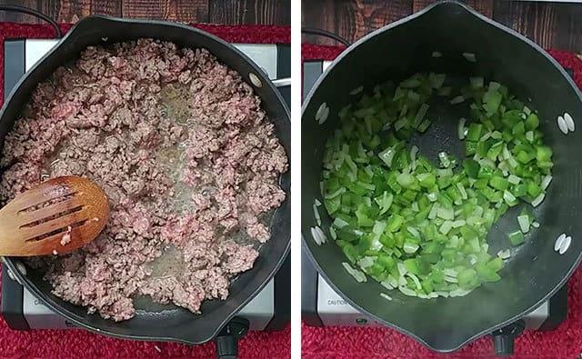 Cooking ground beef, peppers, and onions on a stove top