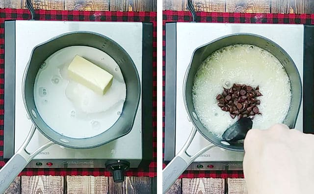 Boiling frosting ingredients in a saucepan and then adding chocolate chips