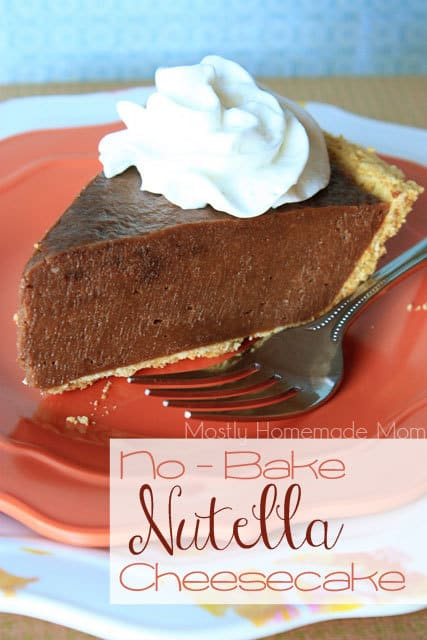 A slice of no bake Nutella cheesecake with whipped cream on top