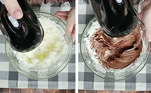 Mixing cream cheese and Nutella in a glass mixing bowl