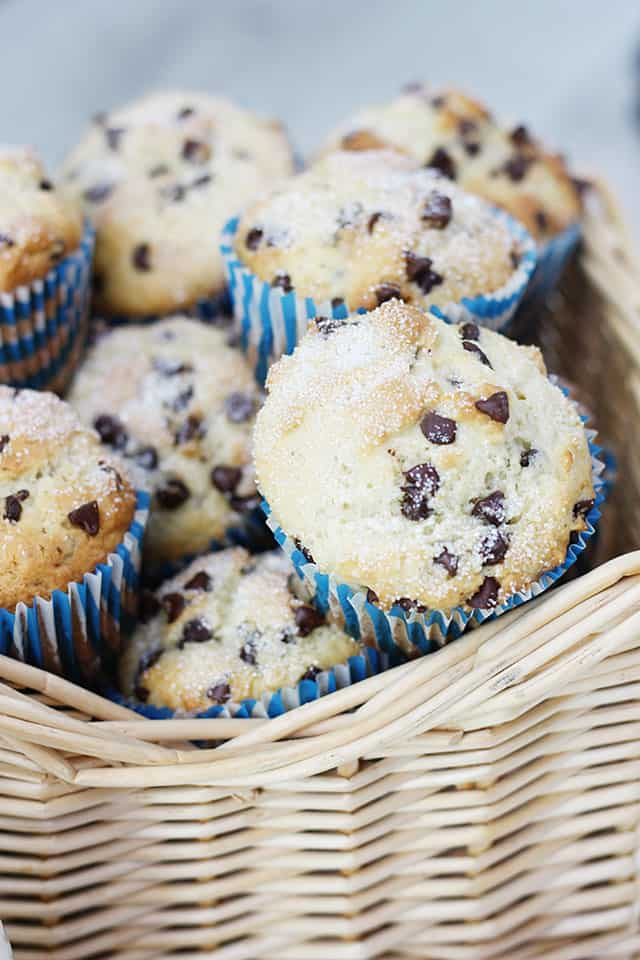 A basket of chocolate chip muffins