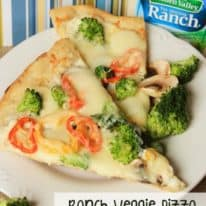 Ranch Veggie Pizza – with Hidden Valley Ranch Dressing!
