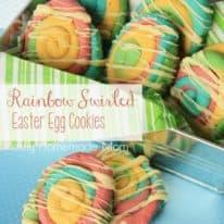 Rainbow Swirled Easter Egg Cookies