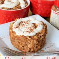 Skinny Cinnamon Roll Baked Oatmeal