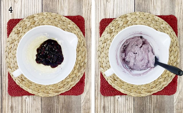 Mixing blueberry pie filling into cream cheese mixture in a white bowl