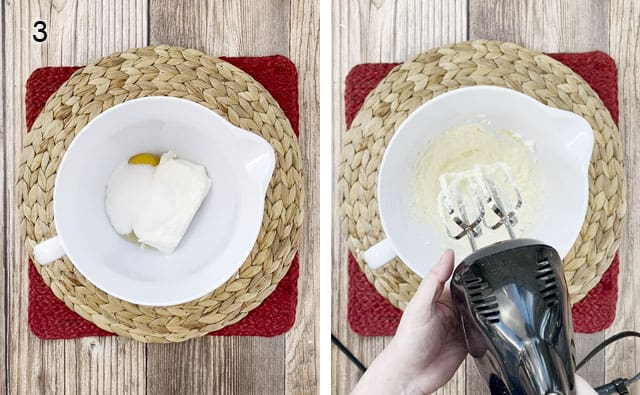 Blending cream cheese, sugar, and egg in a white bowl with a hand mixer