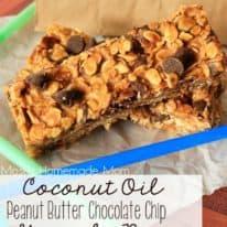 Coconut Oil Peanut Butter Chocolate Chip Granola Bars