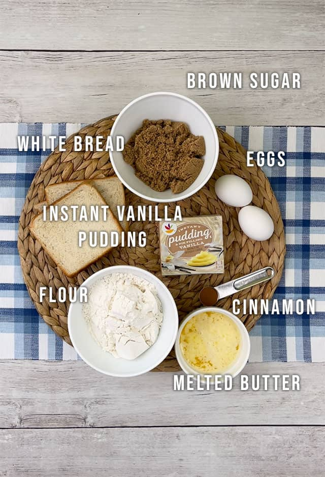 Ingredients for french toast muffins on a blue plaid placemat