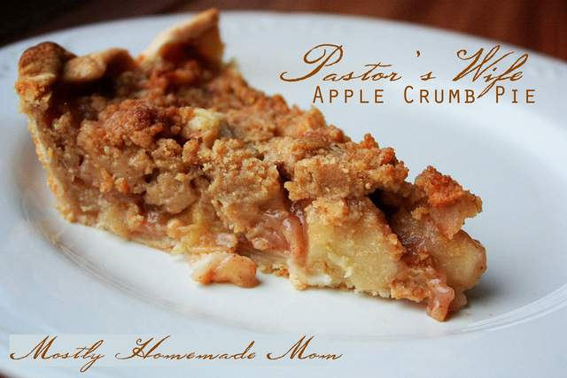 Pastor's wife apple crumb pie slice on a white plate