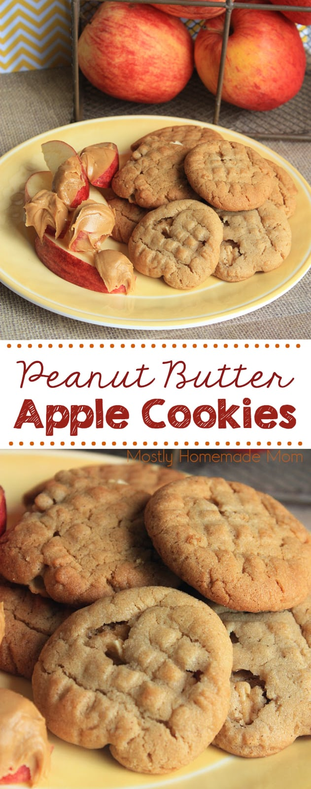 Apple Cookies with creamy peanut butter, cinnamon, and real diced apples! The perfect morning or afternoon treat with coffee! #apples #appleseason #cookies #christmascookies #recipe #dessert