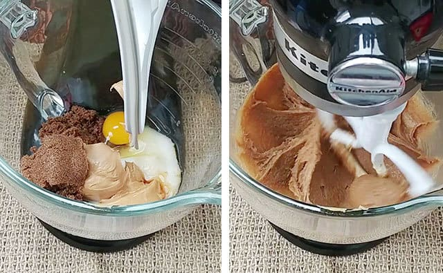 Mixing sugars, spices, butter, and egg