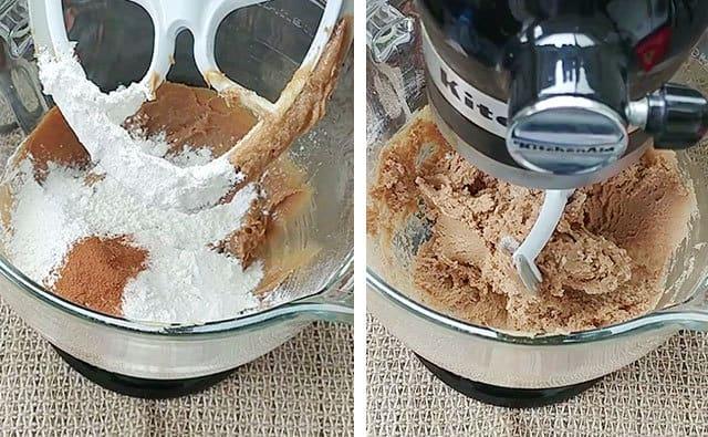 Blending flour, baking soda, and cinnamon into cookie dough