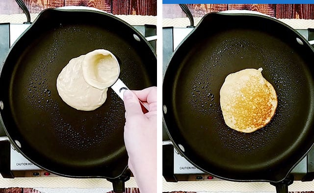 Scooping pancake batter onto a black skillet