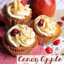 Candy Apple Cupcakes with Cinnamon Buttercream Frosting