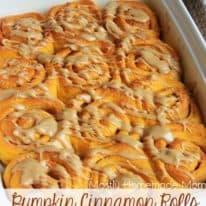 Pumpkin Cinnamon Rolls with Salted Caramel Frosting