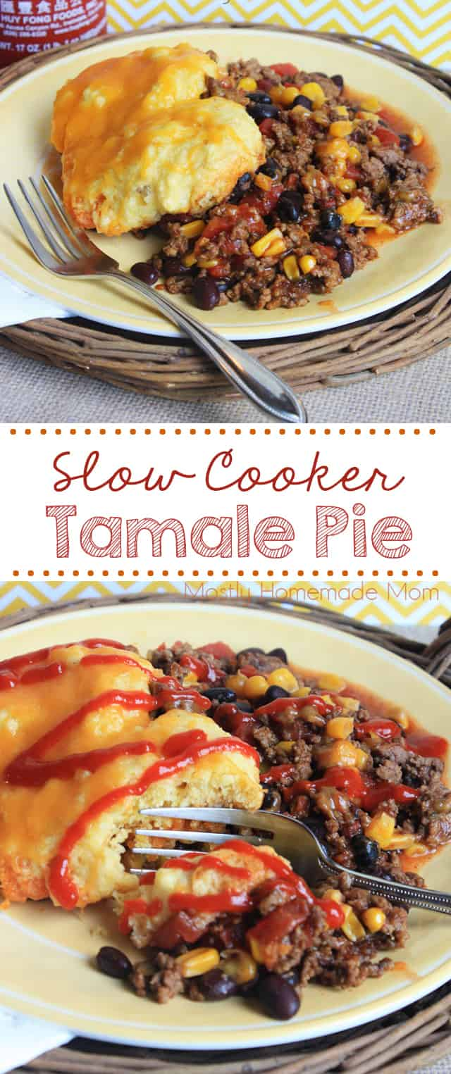 Slow Cooker Tamale Pie - beef, enchilada sauce, and vegetables topped with cornbread and cooked in the Crockpot!! #tamalepie #dinner #recipe #crockpot #slowcooker