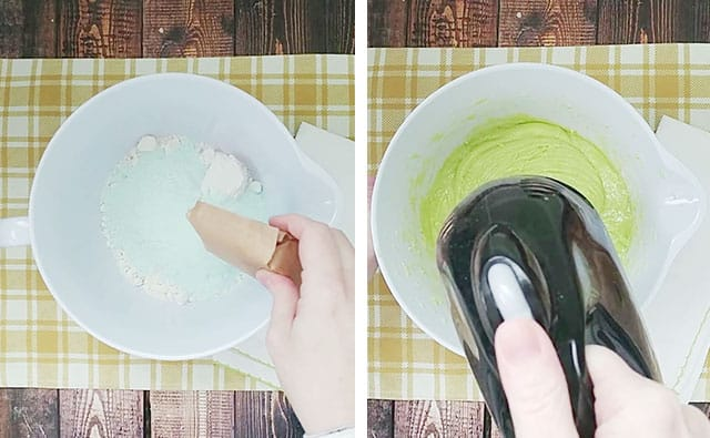 Mixing pistachio cake batter in a white mixing bowl with an electric mixer