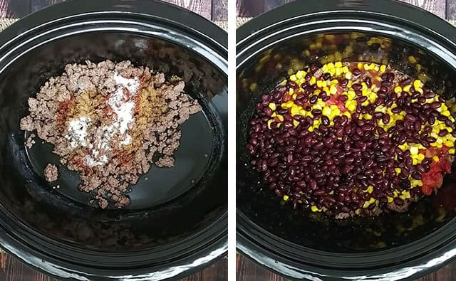 Tamale pie ingredients being stirred together in a Crockpot