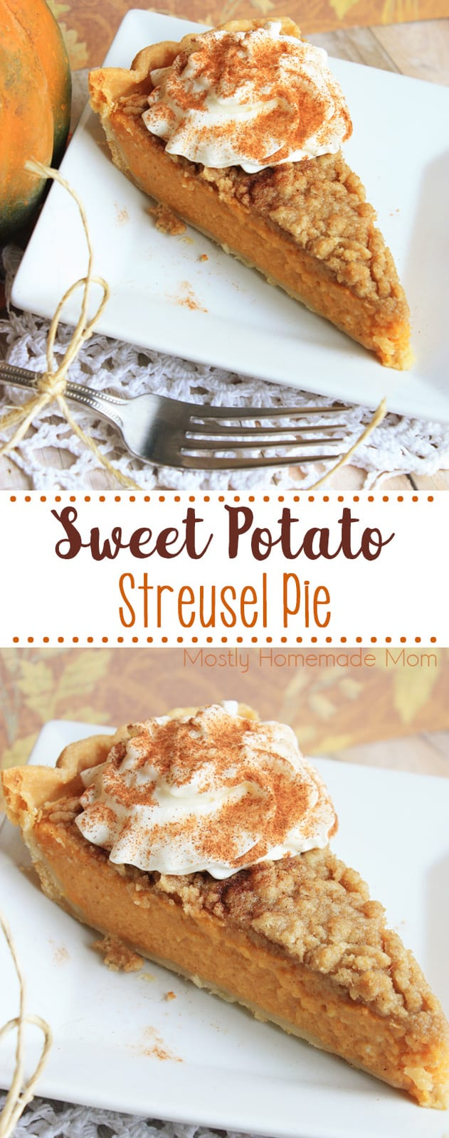 This incredible Sweet Potato Streusel Pie recipe will be the best dessert this holiday season! Fresh sweet potatoes, evaporated milk, and spices with a brown sugar topping! #sweetpotatopie #thanksgiving #christmas #recipe #dessert