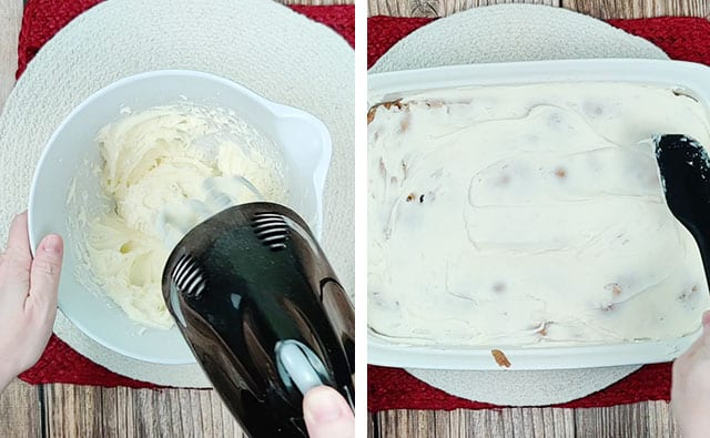 Beating cream cheese frosting in a white bowl and then spreading onto cake